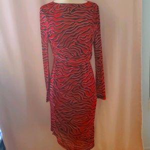Soaked in Luxury red+black long sleeve dress 848